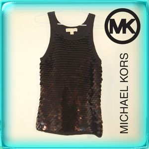 Michael Kors sequined tank top black sweater small